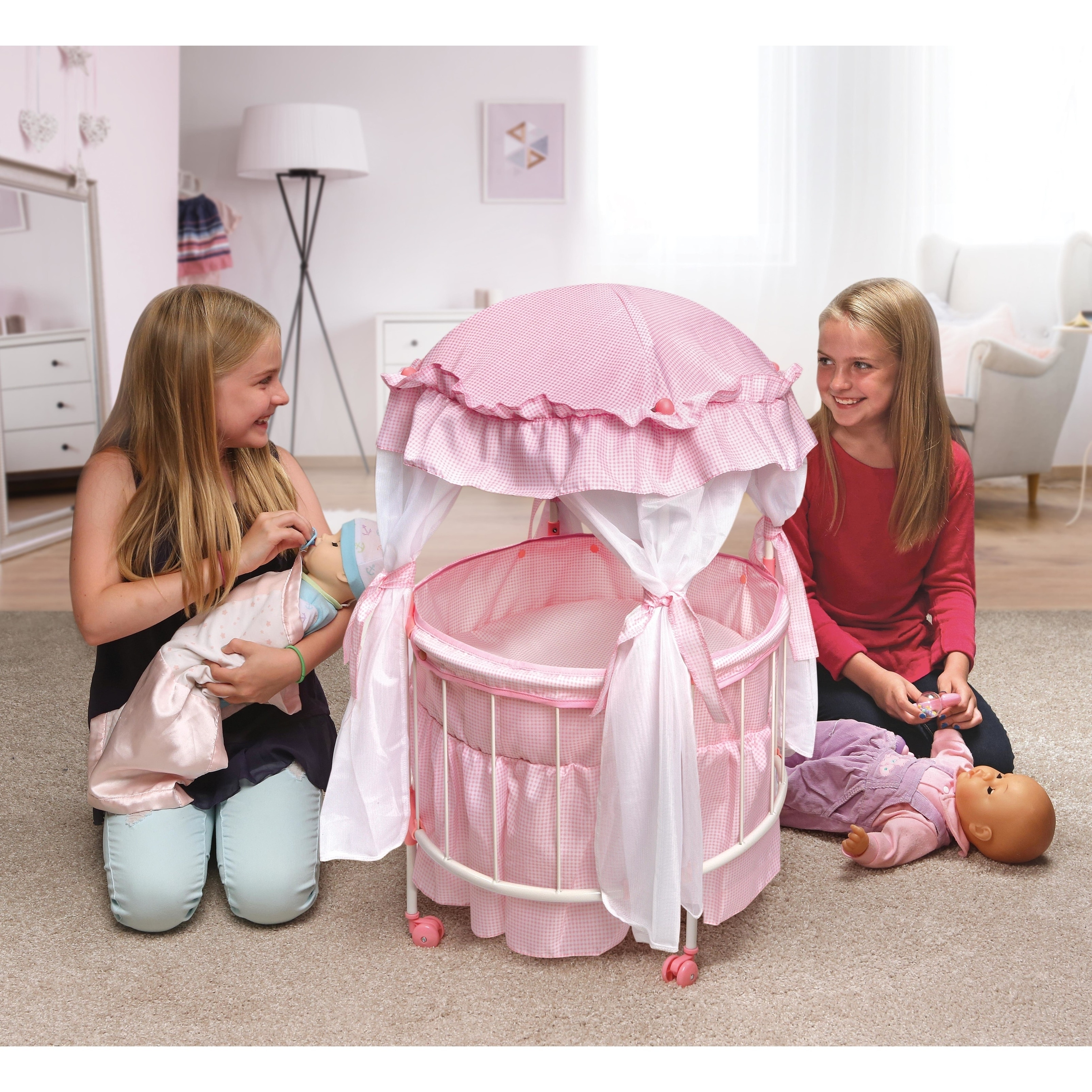 Baby Doll Crib White Pink With Baskets Bedding Mobile Fabric Canopy Bumper