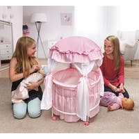 Badger Basket Royal Pavilion Round Doll Crib with Canopy - Pink/White
