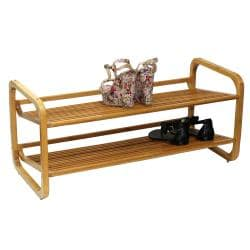 Oceanstar Two-Tier Slatted-Shelf Bamboo Shoe Rack - Thumbnail 1