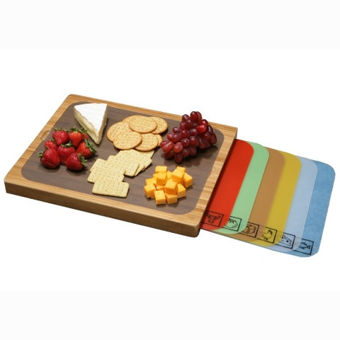 Seville Classics Bamboo Cutting Board with 7 Color-Coded Flexible BPA-Free Cutting Mats