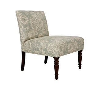 Handy Living Bradstreet Vintage Sea Foam Blue Floral Upholstered Armless Chair
