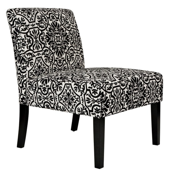 Handy Living Bradstreet Black and White Damask Upholstered Armless Chair