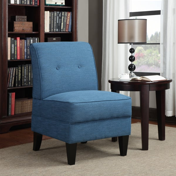 Handy Living Engle Caribbean Blue Linen Armless Chair