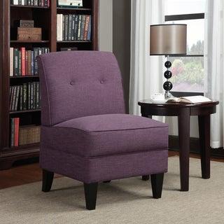 Handy Living Engle Amethyst Purple Linen Armless Chair