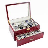 Caddy Bay Collection Glossy Rosewood 20-watch Storage Case