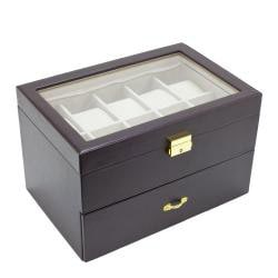 Executive 20-Watch Dark Brown Glass-Top Storage Case