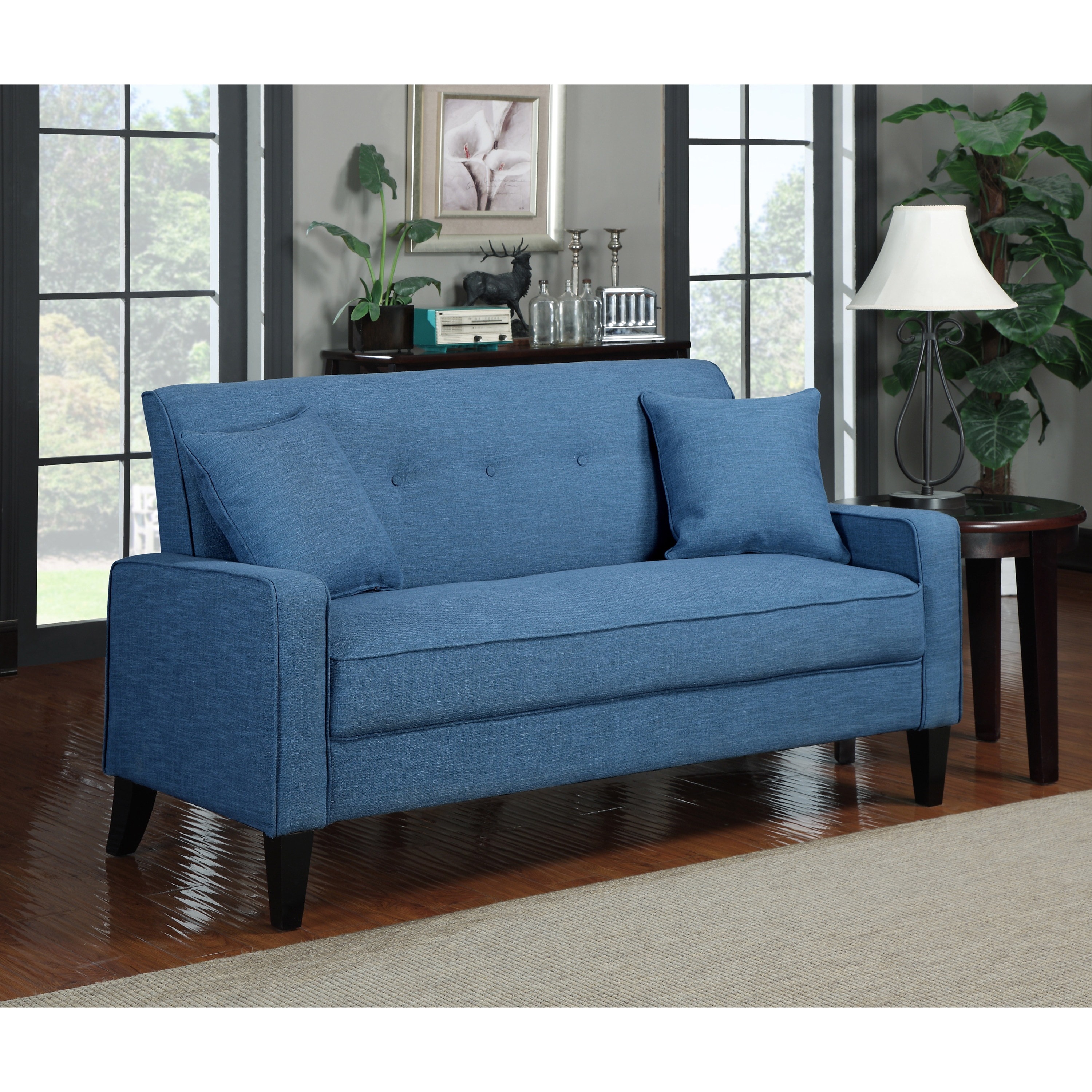 Shop Handy Living Ellie Caribbean Blue Linen Sofa - Free Shipping On ...