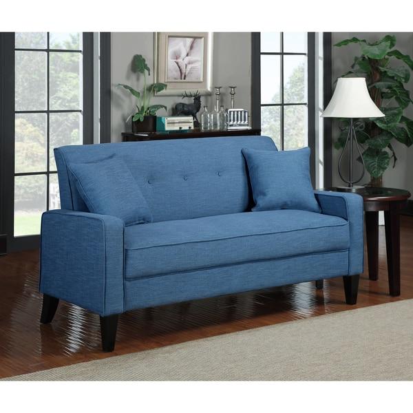 Handy Living Ellie Caribbean Blue Linen Sofa