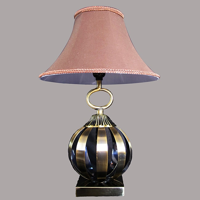 Aida Antique Brass Metal/Beige Table Lamp