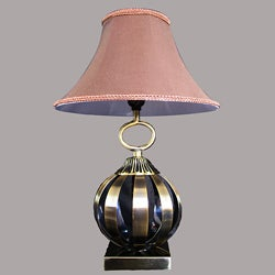 Aida Antique Brass Metal/Beige Table Lamp - Thumbnail 0