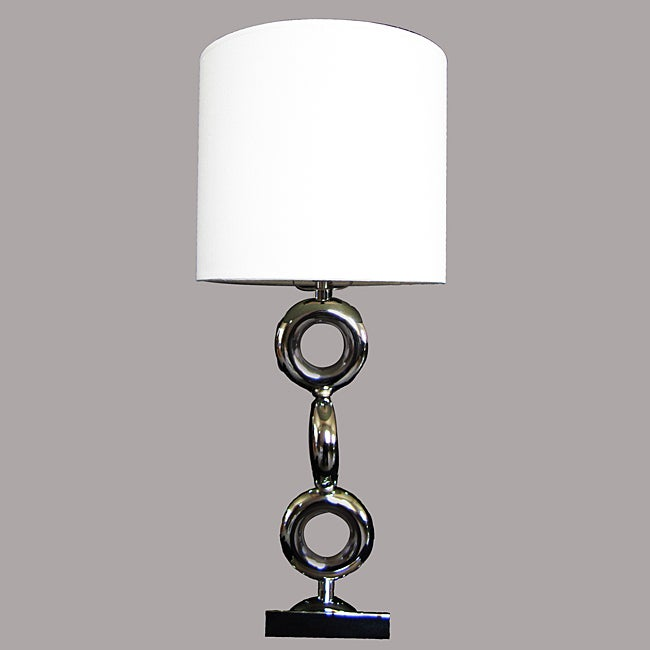 Taj Modern Chrome Metal/White Table Lamp