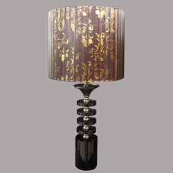 Modern Matte Black/Taupe Table Lamp - Thumbnail 0
