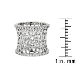 Plated Cubic Zirconia Cut-out Textured Band - Thumbnail 2