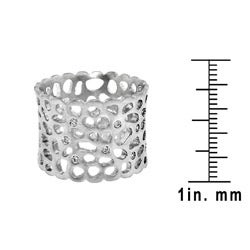 Color-plated Cubic Zirconia Cut-out Textured Band - Thumbnail 2