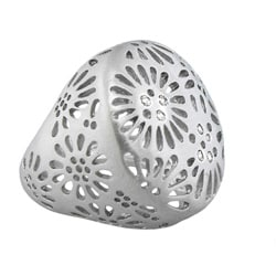 Color-plated Cubic Zirconia Cut-out Flower Dome Band