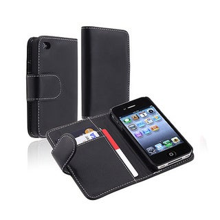 INSTEN Folio Flip Wallet Leather Phone Case with Stand for Apple iPhone 4/ 4S