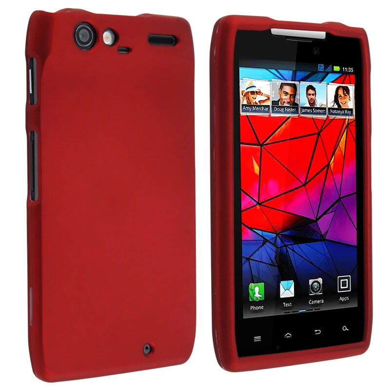 Red Rubber Coated Case for Motorola Droid RAZR XT910/ XT912