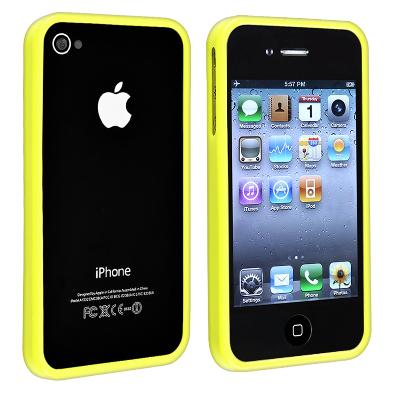 INSTEN Yellow Shiny Bumper TPU Rubber Skin Phone Case Cover for Apple iPhone 4/ 4S