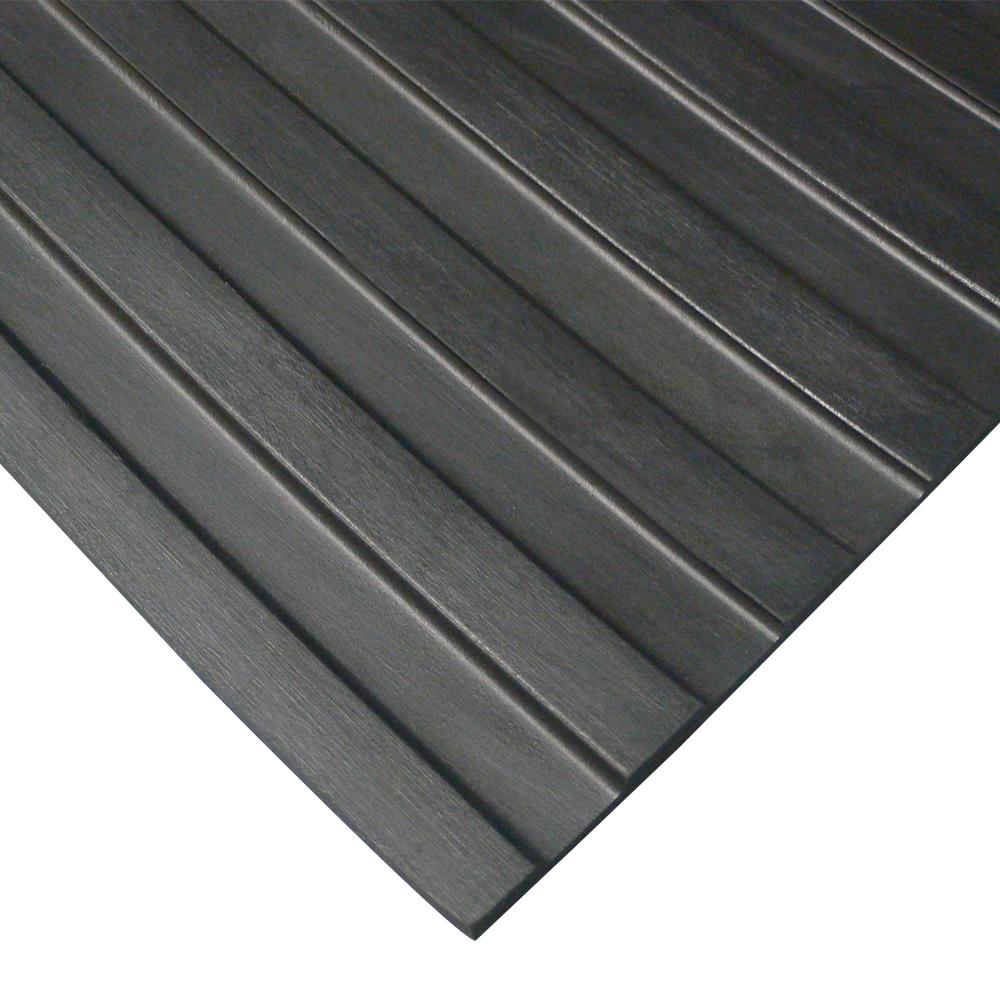 Rubber-Cal Wide Rib Corrugated Rubber Floor Mat (3' x 8' x 3mm)