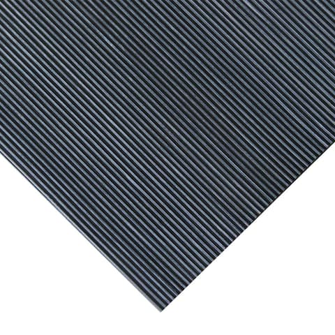 Rubber-Cal Fine Ribbed Corrugated Rubber Floor Mat (3' x 4' x 3mm)