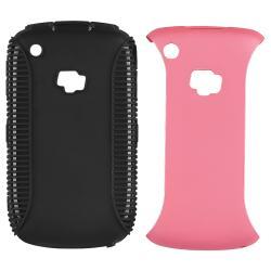 Black TPU/ Pink Hard Hybrid Case for BlackBerry Curve 8520/ 8530/ 9300 - Thumbnail 2