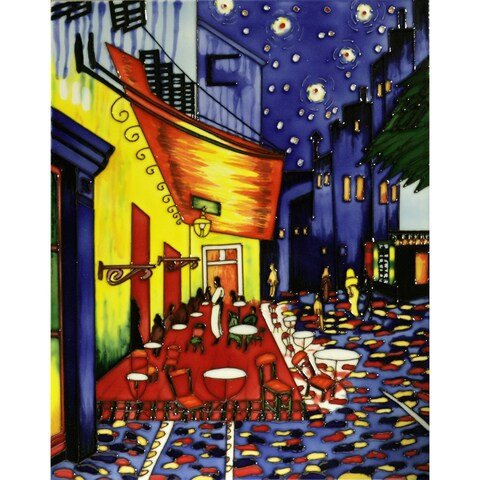 Vincent Van Gogh, 'Cafe Terrace at Night' Hand-painted Trivet/Wall Accent Tile
