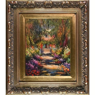 Claude Monet 'Garden Path at Giverny' Hand-painted Framed Canvas Art