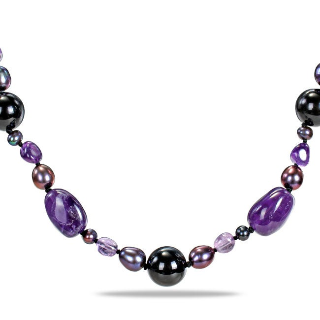 Sterling Silver Amethyst, Agate and Black Pearl Necklace (8-9 mm)