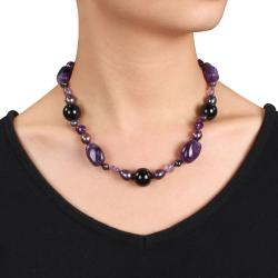 Sterling Silver Amethyst, Agate and Black Pearl Necklace (8-9 mm) - Thumbnail 2