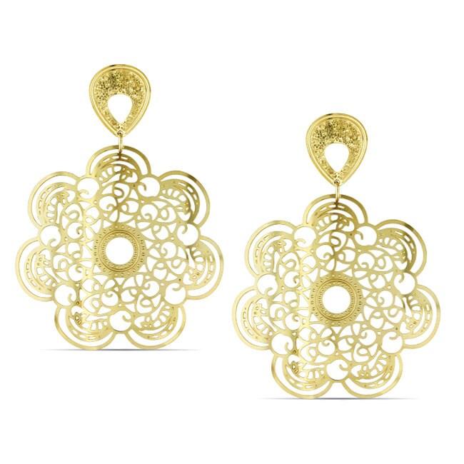 Miadora  Gold Overlay Flower Dangle Earrings