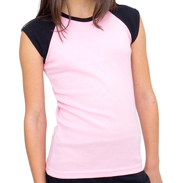 American Apparel Girl's Pink/ Black Raglan Top