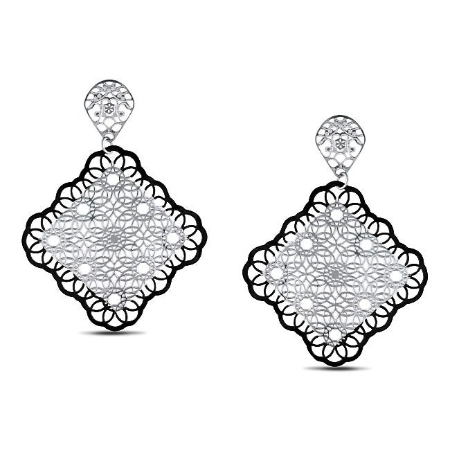 Miadora  Stainless Steel Filigree Flower-style Dangle Earrings - Thumbnail 0