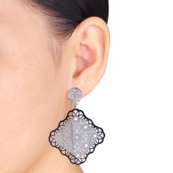 Miadora  Stainless Steel Filigree Flower-style Dangle Earrings - Thumbnail 2