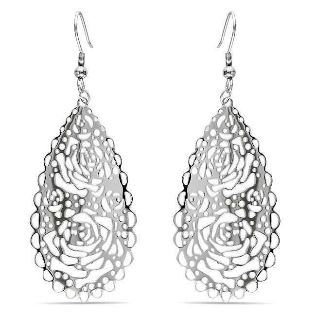 Miadora  Stainless Steel Openwork Rose Design Dangle Earrings - Thumbnail 0