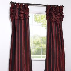 Exclusive Fabrics Ruched Header Syrah Embroidered Faux Silk Taffeta 50 x 84-inch Curtain Panel