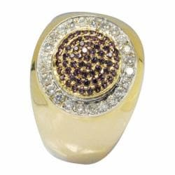 De Buman 10k Gold Men's Garnet and 2/5ct TDW Diamond Ring (K-L, I1)