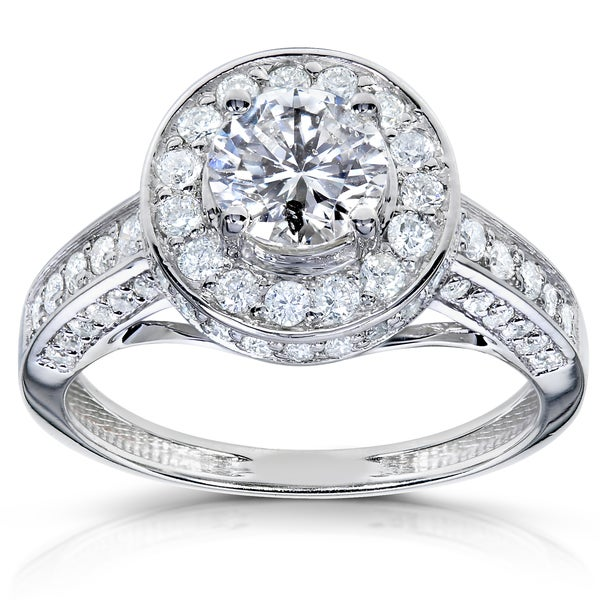 Annello by Kobelli 14k White Gold 1 1/3ct TDW Diamond Engagement Ring (H-I, I1-I2)