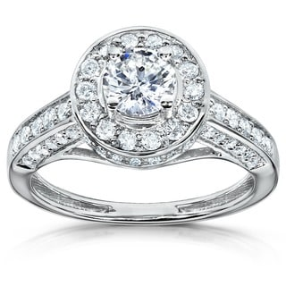 Annello by Kobelli 14k Gold 1ct TDW Diamond Halo Engagement Ring