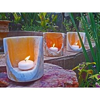 Handmade Alabaster Torch Candle Cylinder, Set of 3 (Egypt)