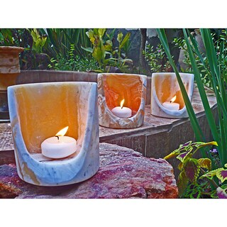 Handmade Set of 3 Alabaster 'Torch' Candle Cylinders (Egypt)