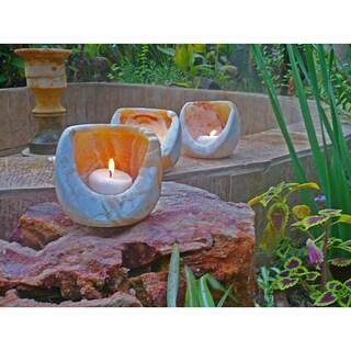 Handmade Alabaster Oval Torch Candle Cylinder, Set of 3 (Egypt)