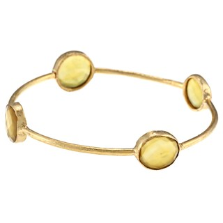 Miadora 22K Yellow Gold-Plated Brass Gemstone Bangle Bracelet (3 options available)