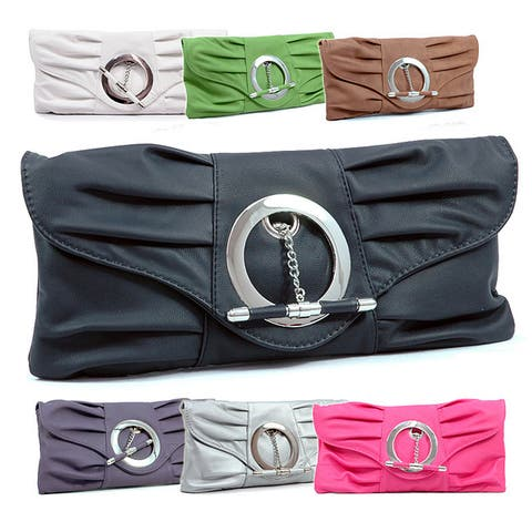 Dasein Faux-leather Flap-over Top Pleated Clutch Bag with Chain Strap