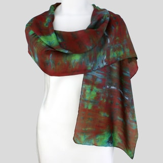 Gypsy River Riches Hand-dyed 'Vineyard' Washable Silk Scarf