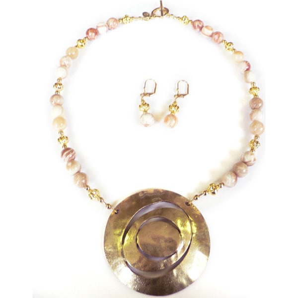 Golden Lilypad' Necklace and Earrings Set