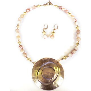 'Golden Lilypad' Necklace and Earrings Set