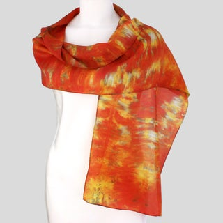 Gypsy River Riches Hand-dyed 'Autumn' Washable Silk Scarf