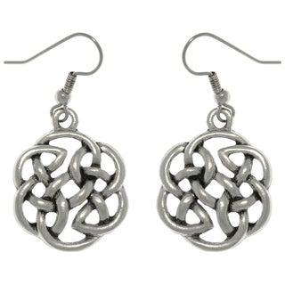 Pewter Celtic Shield of Destiny Drop Earrings - White