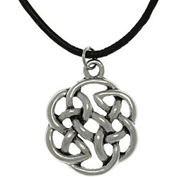 Carolina Glamour Collection Pewter Unisex Celtic Shield of Destiny Black Cord Necklace