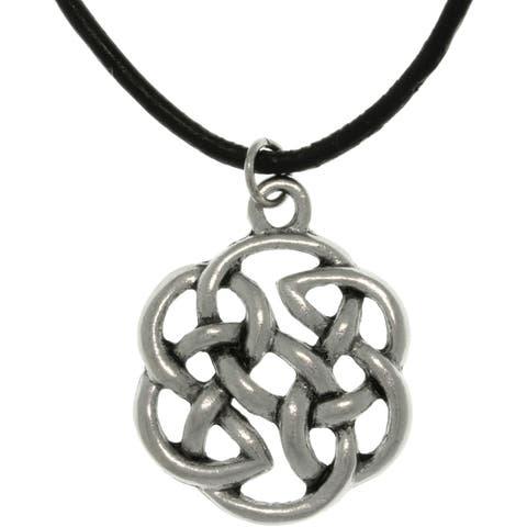 Pewter Unisex Celtic Shield of Destiny Black Cord Necklace